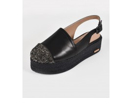 Wedge: Slingbacks- Black